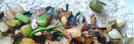 Wrap de espinacas, champiñones y queso