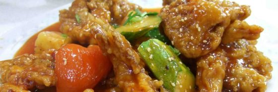 Cerdo agridulce chino arroz