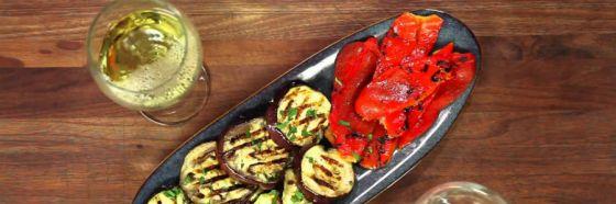 berenjena pimenton grill maridaje vegetariano