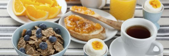 breakfast bran flakes orange coffee eggs bread