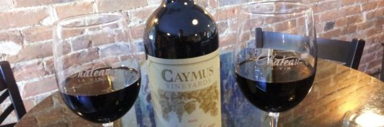 caymus cabernet two glasses