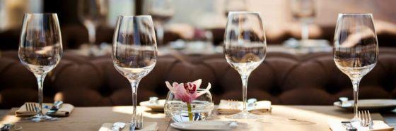 glassware in table