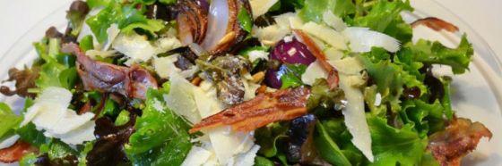 lettuce bacon onion warm salad