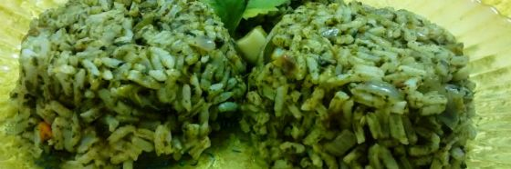 green rice spinach