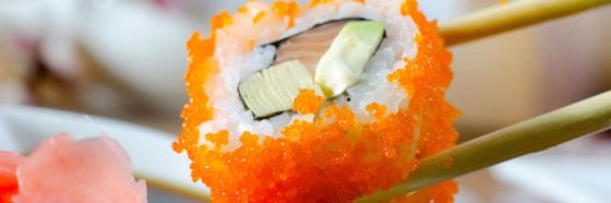 sushi piece and sticks