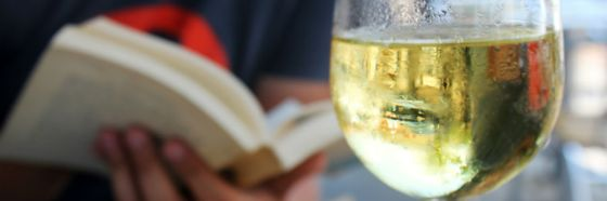 white wine man reading