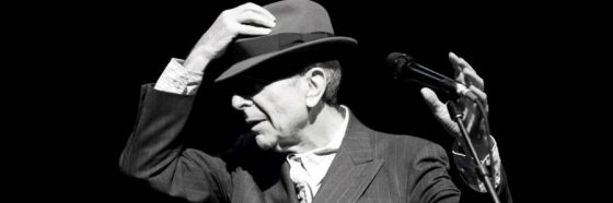 leonard cohen black and withe pic