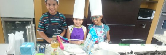 kids baking chocolate cake